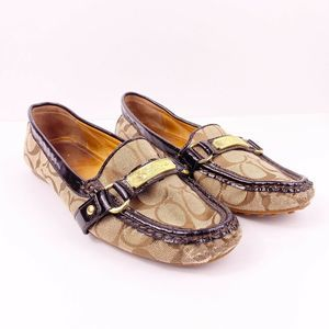 Coach Olive Jacquard Brown Khaki Flats Loafers